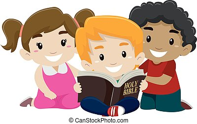 Kinder lesen Bibel.