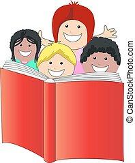 Kinder lesen Buch.