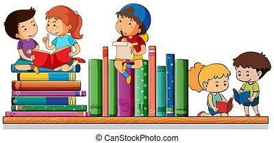 Kinder lesen und spielen mit Büchern.