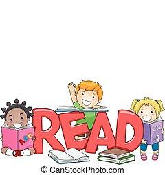 kinder, lesende