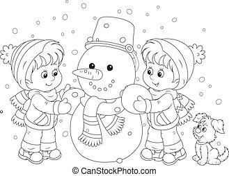 Kinder machen einen Schneemann.