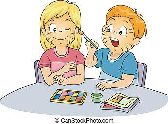 Kinder machen Gesichtsmalerei