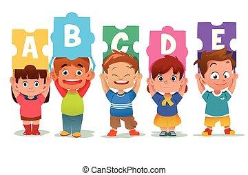 Kinder mit Alphabet-Puzzles.