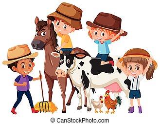Kinder mit Bauerntieren.