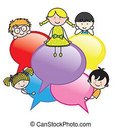 Kinder mit Dialogbläschen
