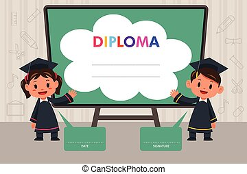 Kinder mit Diplomvorlage.