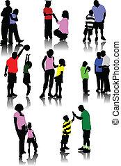 Kinder mit Eltern-Silhouette