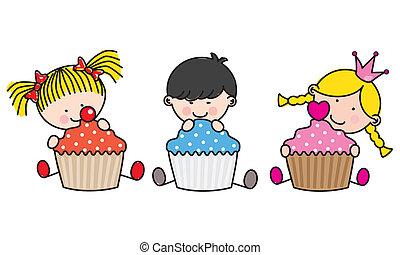 Kinder mit farbigen Cupcakes.