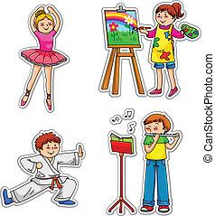 Kinder mit Hobbys