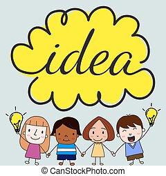 Kinder mit Ideenkonzept.