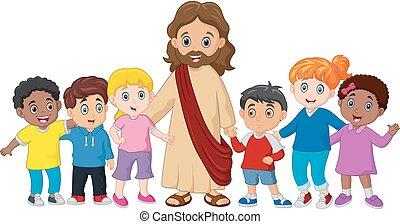 Kinder mit Jesus Christus.