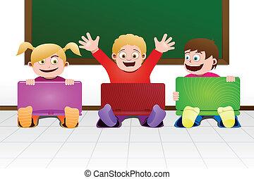 Kinder mit Laptop im Klassenzimmer.