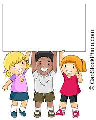 Kinder mit leerem Brett
