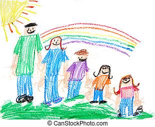 Kinder mit primitivem Crayon-Zeichen einer Familie