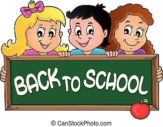 Kinder mit Schultafel Thema 2.