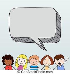 Kinder mit Sprachblasen.