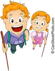 Kinder mit Stöcken