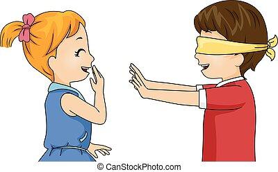 Kinder mit verbundenen Augen.