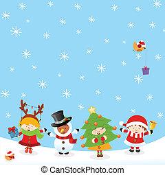 Kinder mit Weihnachtskostümen