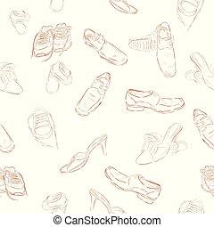 kinder, muster, skizze, hand, vektor, hintergrund, einfache , ziehen, mann, schuhe, frau, seamless