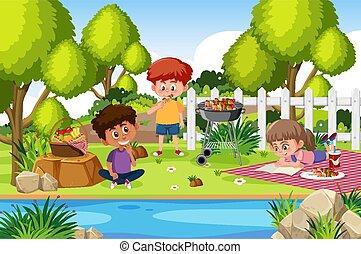 kinder, park, hintergrund, szene, essende