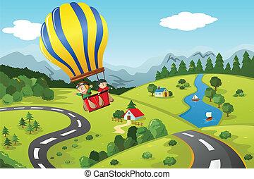 Kinder reiten Heißluftballon.