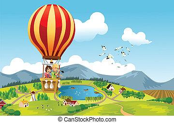Kinder reiten Heißluftballon