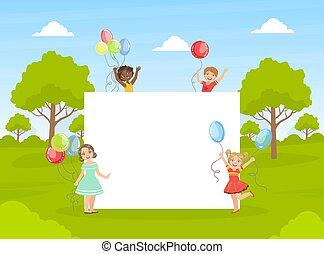 kinder, reizend, banner, besitz, bunte, abbildung, leer, leerer , glücklich, vektor, luftballone