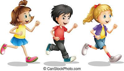 Kinder rennen.