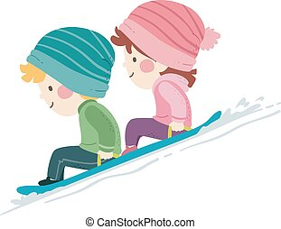 kinder, rodeln, abbildung, schnee
