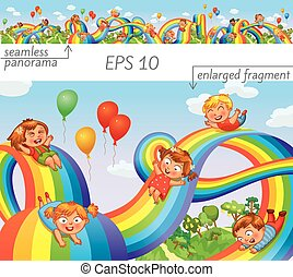 Kinder rutschen auf einem Regenbogen runter