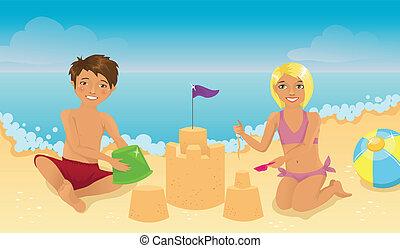 kinder, sandstrand, spielende