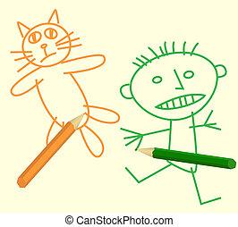 Kinder sehen aus wie Katze und Chi