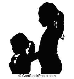 Kinder Silhouette Illustration.