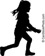 Kinder Silhouette läuft.