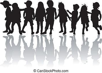 Kinder Silhouetten.