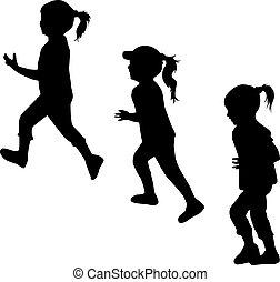 Kinder Silhouetten laufen.