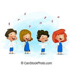 Kinder singen Weihnachtslieder, Vektorgrafik.