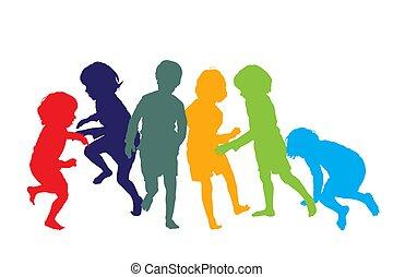 kinder, spielen, 1, silhouetten