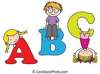 Kinder spielen. Alphabet