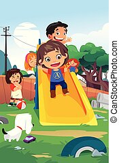 Kinder spielen auf dem Spielplatz Illustration.