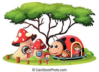 Kinder spielen auf dem Spielplatz.