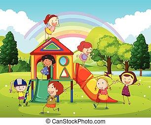 Kinder spielen auf dem Spielplatz im Park.