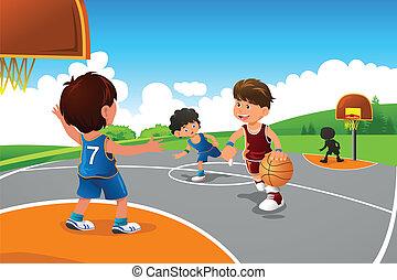Kinder spielen Basketball auf einem Spielplatz
