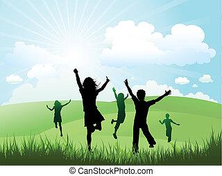 Kinder spielen draußen an einem sonnigen Tag.
