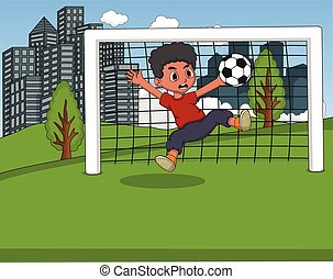 Kinder spielen Fußball im Park.