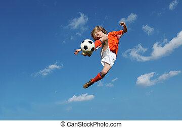 Kinder spielen Fußball oder Fußball