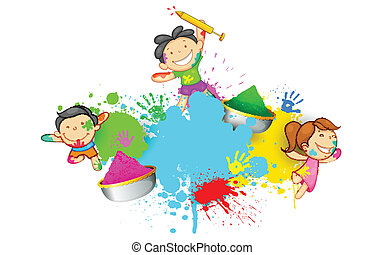 Kinder spielen Holi