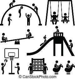 Kinder spielen im Freien Park