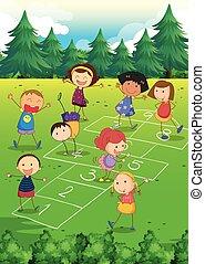 Kinder spielen im Park Hopfen.